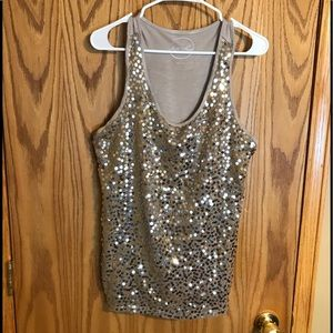 INC racer back sequined top